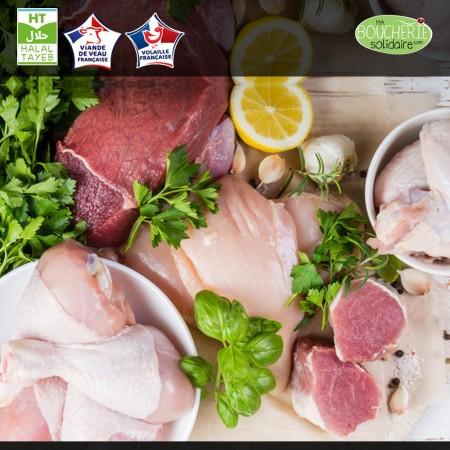 Colis de viande de veau et poulet issu d'élevage biologique
